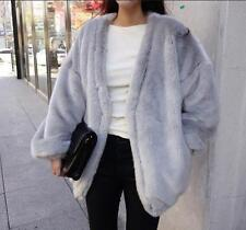 ladies girls loose winter faux Rabbit  fur jacket fur coat jackets outwear parka
