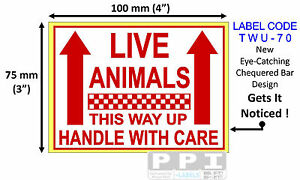Red LIVE ANIMALS Handle With Care Labels Stickers Pet Shop Zoo 100x75mm TWU-70
