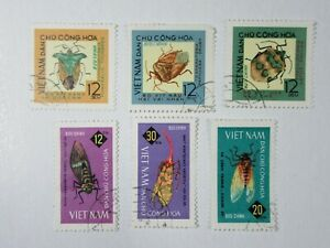 Set of 6 INSECT STAMPS From VIETNAM  #C13