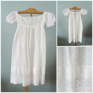 Antique Regency Dress Gown Young Girls Sprigged Muslin White High Waisted c1820