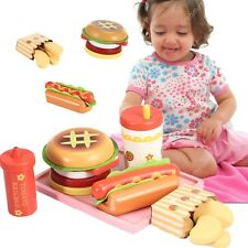 6 Pcs Wooden Hamburger Hotdog Fries Kids Pretend Role Play Kitchen Set Food Toy