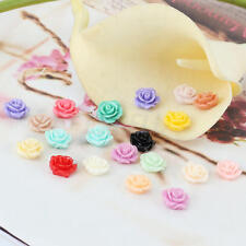 20pcs Mixed Colors Flat Back Rose Flower Flatback 10mm Appliques Resin Cabochons