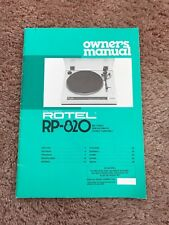 Rotel RP-820 Owners Manual