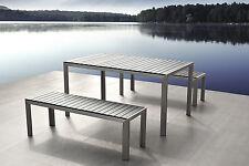 Gartenmöbel, Aluminium Tisch + 2 Bänke, Gartenbank, Gartentisch, Sitzgruppe,grau