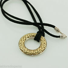 CHARLES KRYPELL NECKLACE 18K YELLOW GOLD STERLING SILVER CIRCLE LEATHER CORD 18""