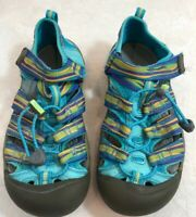 KEEN Newport Girls Sz 3 Teal Blue Rainbow Sandals Shoes Waterproof Hiking EUC