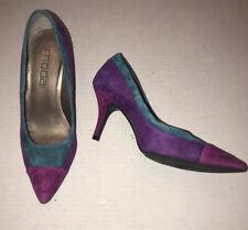 Vtg 80s 90s Suede Color Block Heels by Moda Spana Sz 6 Purple, Magenta & Teal