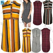 Striped Sleeveless Dresses for Women with Buttons