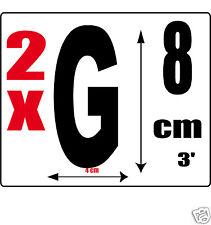 lot 2 lettres [G] Sticker autocollant noir hauteur 8cm Lettre adhésive en vinyle