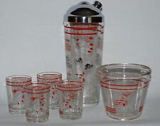 VINTAGE RECIPE COCKTAIL SHAKER w MATCHING ICE BUCKET and 4 TUMBLERS HAZEL ATLAS