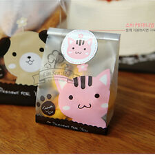 Cute Pink Cat Cello Cellophane Kid Party Candy Sweet Cookie Gift Bags & Sticker