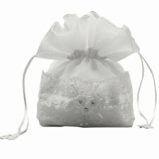 Communion Girls White Organza Pull String Dolly Bag with Lace Rhinestones Pearls