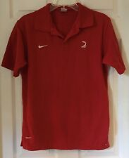 Men NIKE Red S/s Polo Shirt Top Sz Large Gray Tag Indonesia Fit Dry Cotton