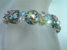 Stretch Bracelet In Gift Box Vintage Pastel Rhinestone And Enamel
