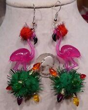 Pomp Pomp 925 Earrings Usa Nora's Big Pink Flamingo Tacky Ugly Sweater Christmas