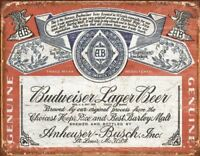 Budweiser Historic Label Distressed Retro Vintage Tin Sign 13 x 16in