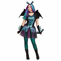 Adult Women's Dark Dragon Queen Thrones Halloween Costume Dress Horns Wings