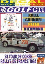 DECAL VOLKSWAGEN GOLF GIT K.GRUNDEL TOUR DE CORSE 1984 13rd (09)