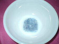 Currier and Ives Vintage Milk Glass Bowl - Children on a Swinging Gate