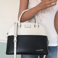NEW KATE SPADE White Black Leather Satchel Shoulder Crossbody Bag Purse