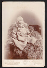 c1895 Susie Gregory on bear rug child Astoria Oregon real photo cabinet card