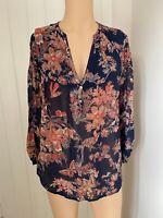 Monsoon Blouse Shirt Top UK Size 14 Womens Ladies Sheer Navy Blue Floral Print