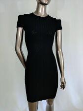 NWT Antonio Berardi black LBD short square sleeve knit mini dress size S IT 40