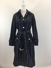 JCrew $258 Collection Trench Coat in Windowpane Sz 0 Navy Blue Cream G2383 NWT