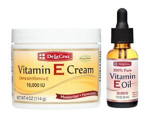 De La Cruz 100% Pure Vitamin E Oil 28,000 IU + Vitamin E Cream 10,000 IU 4 OZ
