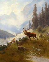 Handpainted Oil painting wild animal wild beast deer in landscape on canvas 36""