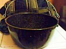 Enamelware black speckle soup/canning/cooking/camping pot wire handle