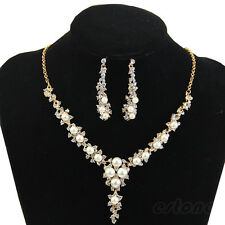 New Fashion Rhinestone Pearl Necklace Earrings Jewelry Set For Wedding Bridal