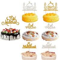 Eid Mubarak Gold Glitter Cake Topper Ramadan Home Party Decoration Hajj Decor SP