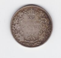 1919 Canada 25 Cents cent Silver Coin L-587