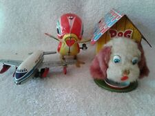 3 Japan Tin Litho Toys Airplane missing tail,Dog in his House, & Pecking Chicken