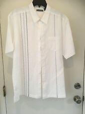 Mens Cubavera Shirt- White with embroidery -Sz XL-Short Sleeve NWT
