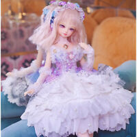 Purple Party Gown Dress Lace Sleeves Necklace Garland For1/4 BJD Doll Outfit