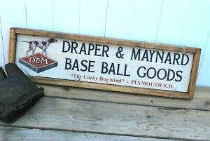 Antique Style Draper Maynard Baseball Glove Bat  Trade Sign Babe Ruth 9x36