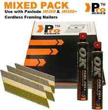 2000 xmixed pack de charpente clous 2xF/C paslode im350 im350+ hitachi (500 de chaque taille)