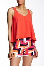 NWT TRINA TURK L Poly dressy tank career cherry designer top shirt Camisole