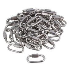 Multifunctional 304 Quick Link Lock Ring Carabiner M4 Set of 50 Silver Tone