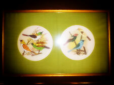 Chinese Silk HAND PAINTED SPARROW BIRDS Oriental Art Picture Vibrant - Pretty!