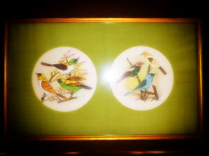 HAND PAINTED CHINESE SILK PICTURE Very pretty handpainted sparrows birds branch