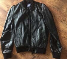 331❤️ Size S Black Men's Faux Leather Biker Bomber Jacket Coat Vintage Topman