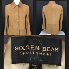 Vintage Golden Bear Sportswear Leather Soft Suede Beige Jacket Coat -R2