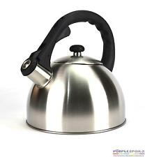 NEW WHISTLING KETTLE STAINLESS STEEL 2.5L Coffee Tea Kitchen Camp Stove SILVER