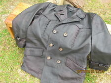 MEN'S DOUBLE BREASTED  THICK LEATHER WESTERN LOOK COAT