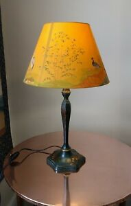 Antique chinoiserie lacquer lamp painted stork willow bulrush bamboo Aesthetic