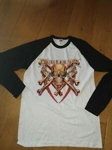 Megadeth Official Black White Long Sleeve Top size l Large baseball style