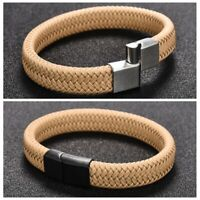 Khaki Braided Leather Bracelets for Men's Cool Stainless Steel Clasp Bangle